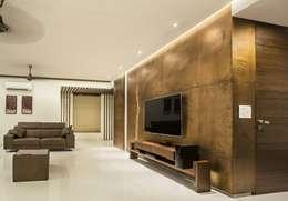 t.v. unit & background wall: modern Living room by Design Paradigm