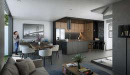 AREA SOCIAL: Cocinas equipadas de estilo  por Stuen Arquitectos