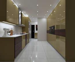 LUXURY KITCHEN - Gold Gloss Cabinets :  Built-in kitchens by Linken Designs