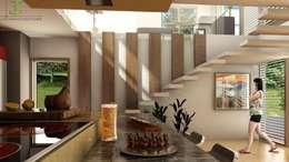 Comedor y escaleras: Comedores de estilo moderno por Eutopia Arquitectura