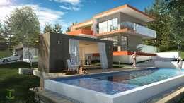Alberca, casa de playa, jardín: Albercas de jardín de estilo  por Eutopia Arquitectura