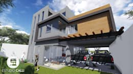 Fachada posterior: Casas de estilo moderno por Estudio CALLI
