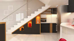 Storage under staircase:  Stairs by Fuze Interiors