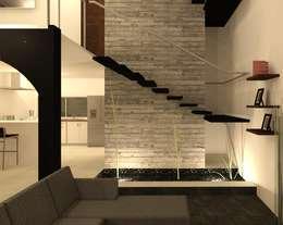 Sala y escaleras: Escaleras de estilo  por Perfil Arquitectónico