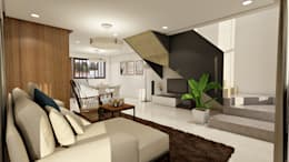 Brand new 2 storey house - Living room and stairs to upper floor : modern Living room by Architecture Creates Your Environment Design Studio