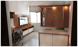 Pooja and Study: minimalistic Study/office by Sandarbh Design Studio