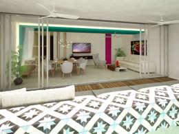vista desde la alberca hacia sala comedor:  de estilo  por studio arquitectura
