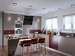 Burgundy Gloss Kitchen Main view:  Built-in kitchens by Linken Designs