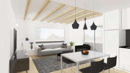 Vista da área social da casa.: Salas de estar modernas por Estúdio AMATAM