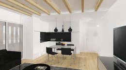 Vista da cozinha.: Cozinhas modernas por Estúdio AMATAM