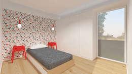 Vista de um dos quartos: Quartos modernos por Estúdio AMATAM