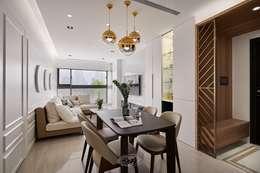 純淨質感宅:  客廳 by 層層室內裝修設計有限公司