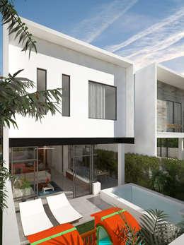 fachada posterior:  de estilo  por studio arquitectura