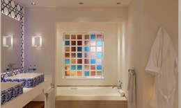 MODEL UNIT FOR THE SHERATON GRAND LOS CABOS: Baños de estilo  por Progressive Design Firm