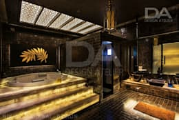 Back lit onyx(stone) stairs to luxury Jacuzzi: modern Bathroom by Design Atelier