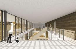 Imagen interior desde el segundo nivel: Livings de estilo mediterraneo por D01 arquitectura