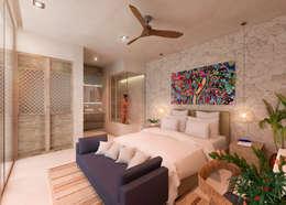 CASA LARA, TULUM, QUINTANA ROO, MÉXICO.: Recámaras de estilo topical por Obed Clemente Arquitecto