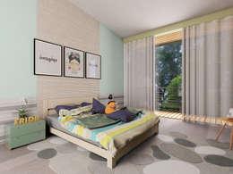 Casa RD: Recámaras de estilo moderno por emARTquitectura