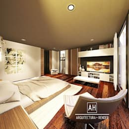 RECAMARA PRINCIPAL: Recámaras de estilo moderno por ah arquitectura + render