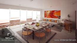 Interior Penthouse: Salas de estilo moderno por Tres-60 grados