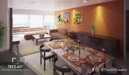 Interior Departamento Tipo: Comedores de estilo moderno por Tres-60 grados