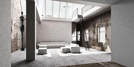 Berlin Loft: industriale Wohnzimmer von marc benjamin drewes ARCHITEKTUREN