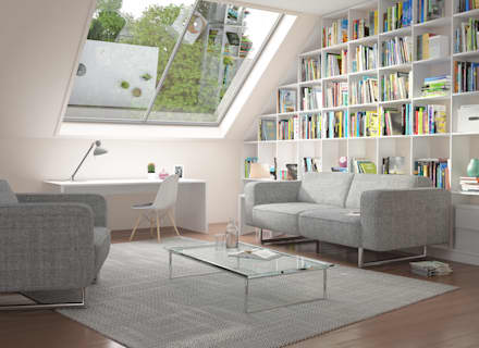 Weißes Regal unter der Dachschrägen: moderne Wohnzimmer von deinSchrank.de GmbH