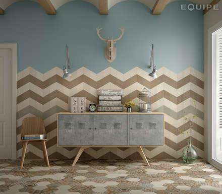 Rhombus Cream, Taupe, Green 14x24: Paredes de estilo  de Equipe Ceramicas