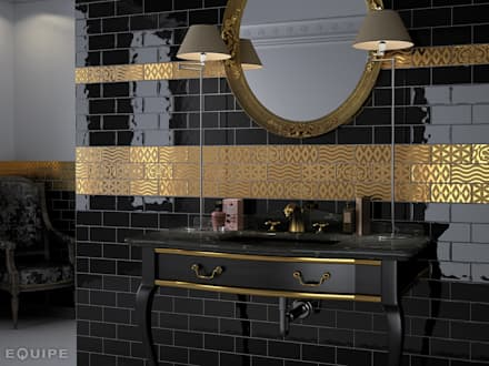 Masia Negro, Decor Jewel Gold 7,5x15: Baños de estilo rústico de Equipe Ceramicas