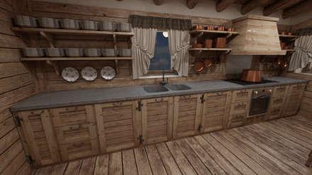 Cascina di Montagna: Cucina in stile in stile Rustico di studiosagitair