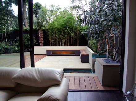 interior flows to exterior : modern Garden by MyLandscapes LTD
