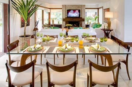 Residencia MV Praia Eclectic Dining Room By Maria Christina Rinaldi Arquitetos