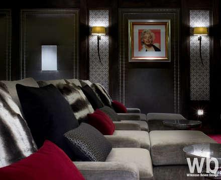 Basement Home Cinema: eclectic Media room by Wilkinson Beven Design