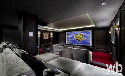 Basement Cinema: eclectic Media room by Wilkinson Beven Design