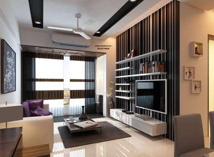 Ekta World, Borivali: minimalistic Living room by RK Design Studio