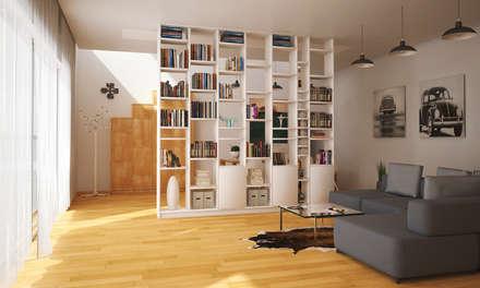 Weißer Raumteiler/Raumtrenner nach Maß: moderne Wohnzimmer von Pickawood GmbH