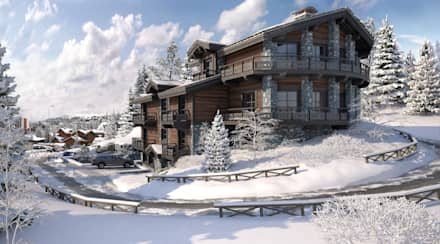 Perspectiva 3D - Chalet en la nieve : Casas de madera de estilo  de Realistic-design