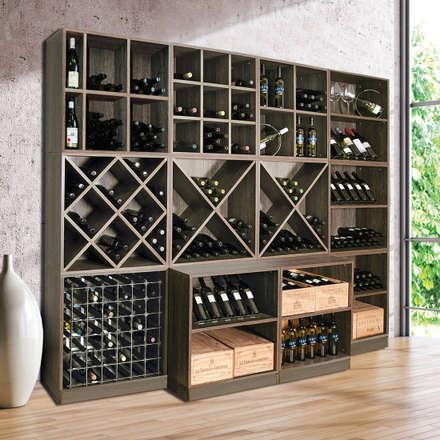 Weinregalsystem CAVEPRO in Dekor Wenge Salonga - ein Blickfang nicht nur für den Weinkeller: moderner Weinkeller von Weinregal-Profi