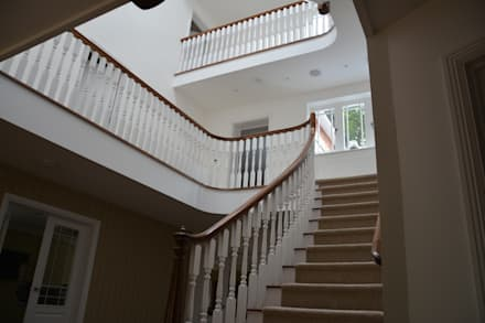3 Storey Colonial Style Staircase:  Corridor & hallway by Sovereign Stairs