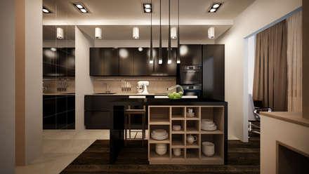 """Проект однокомнатной квартиры - """"Стиль современного города"""".: Кухни в . Автор – дизайн-бюро ARTTUNDRA"""