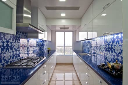 the blue kitchen : modern Kitchen by ZERO9