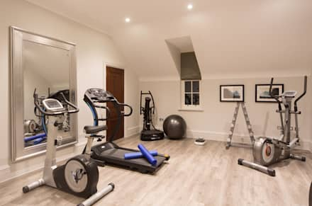 Flairlight Project 1 Oxshott, Tudor House: modern Gym by Flairlight Designs Ltd