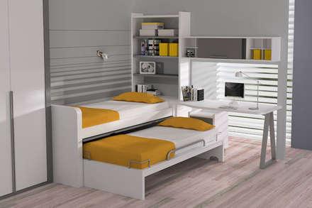 Cama nido móvil con somier inferior extraíble : Dormitorios infantiles de estilo moderno de Sofás Camas Cruces
