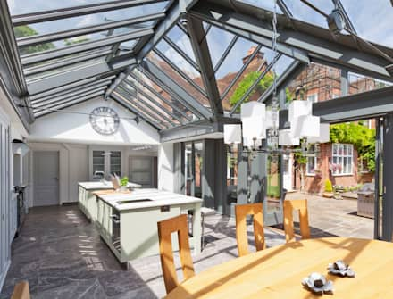 Large Kitchen Conservatory: modern Conservatory by Vale Garden Houses