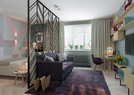 Яркая индивидуальность в типовой квартире: Гостиная в . Автор – Anna Clark Interiors