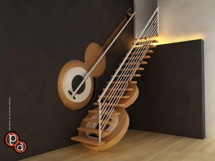 Guitar Staircase:  Corridor & hallway by Preetham  Interior Designer