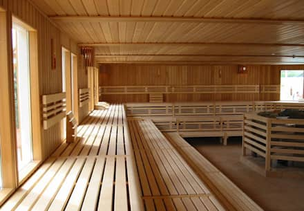 Gewerbliche Sauna mit großzügigen Abmessungen.:  Sauna von corso sauna manufaktur gmbh