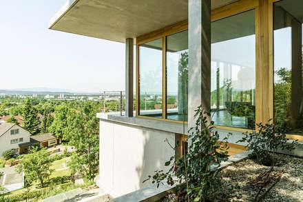 Wohnhaus am Hang, Wyhlen: moderner Garten von GIAN SALIS ARCHITEKT