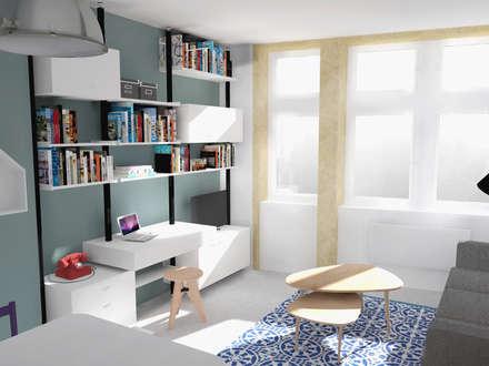 """Rénovation studio """"place Saint-Paul"""": Salon de style de style Industriel par AÏDO"""