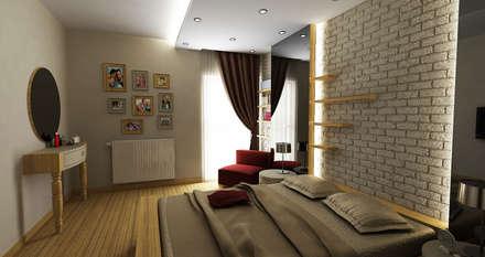 Niyazi Özçakar İç Mimarlık - E.E. EVİ: modern tarz Yatak Odası